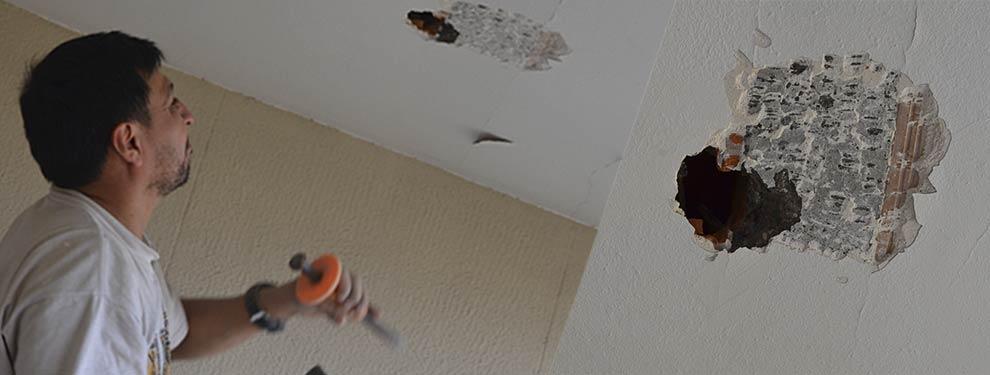 Test de aluminosis realizado en techo de vivienda para detectar aluminosis